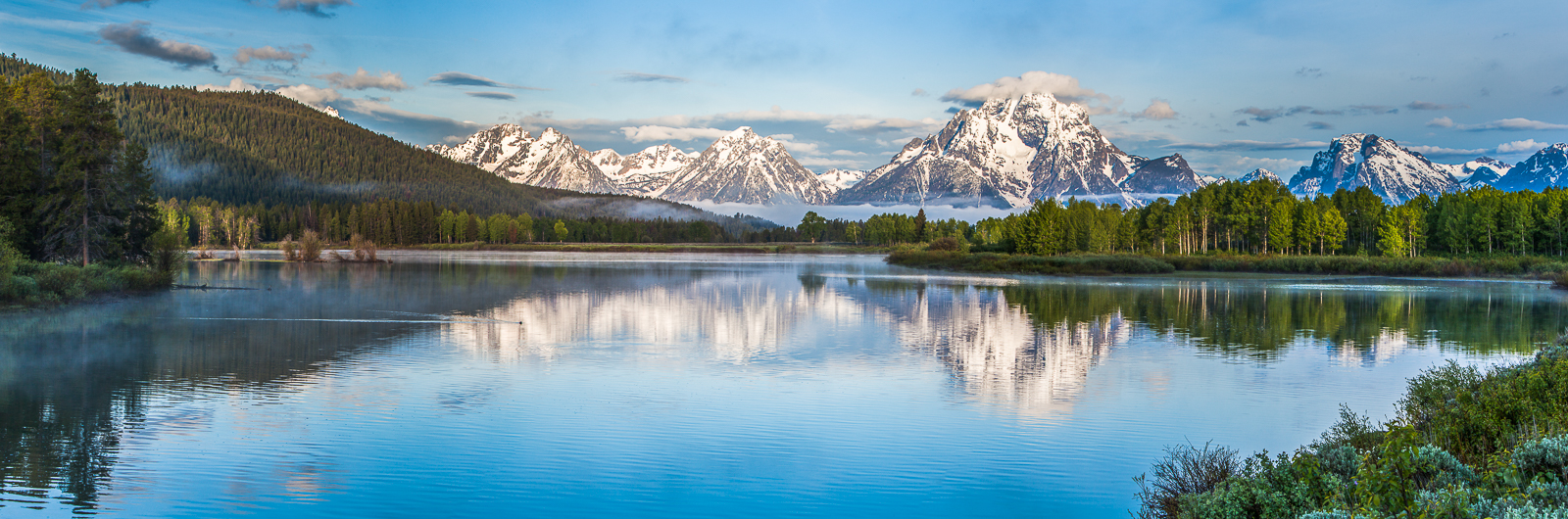 Spring at Oxbow Bend,Grand Teton National Park, Wyoming, panoramic,water,green,shoreline, photo