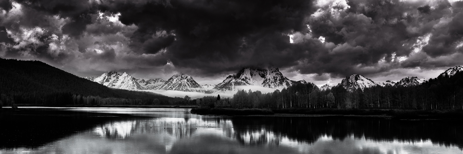 Shades of Oxbow,Black and White,Grand Teton National Park,Horizontal,Mountains,Wyoming,landscape, photo
