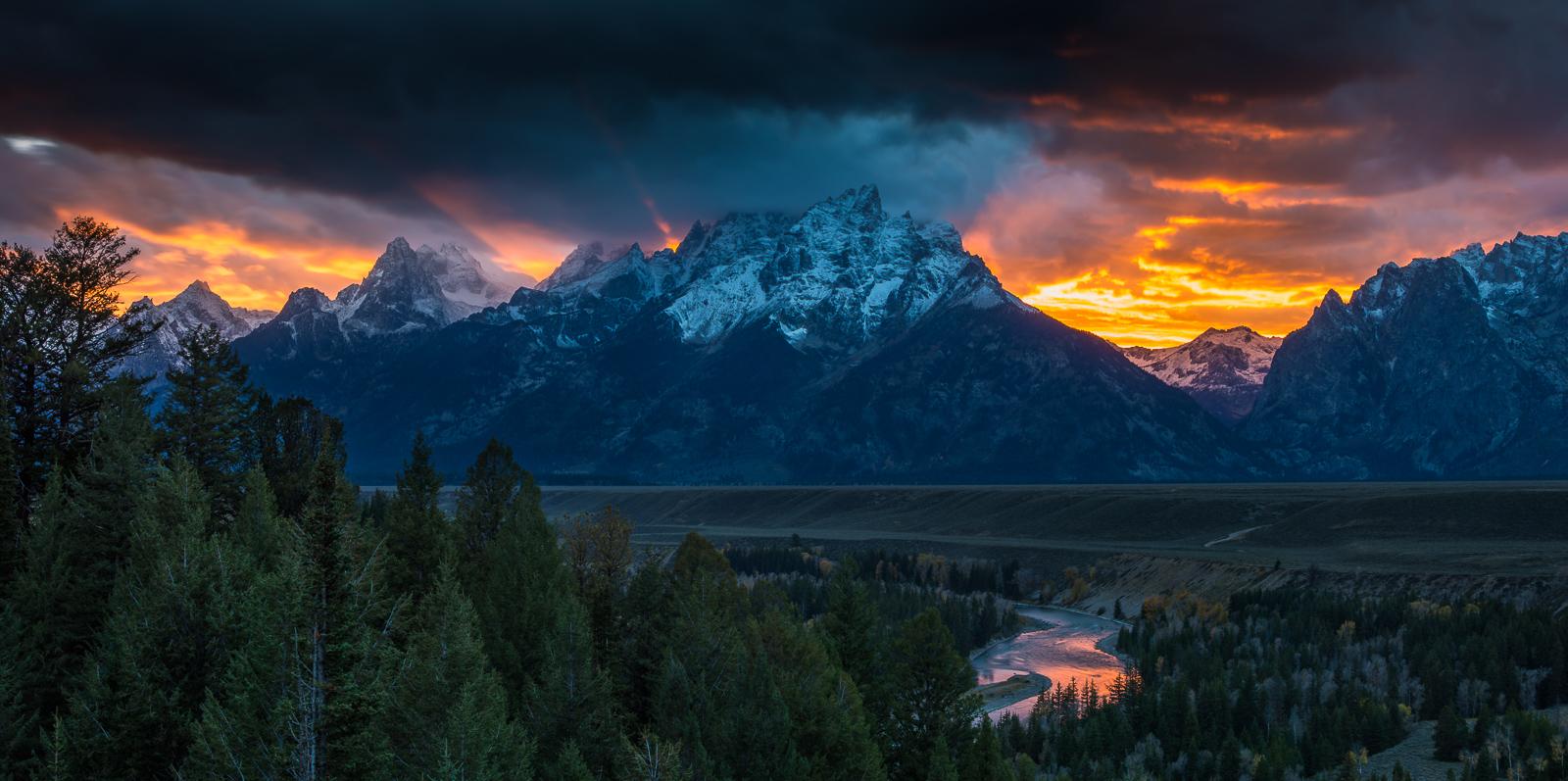 Snake River on Fire, Grand Teton National Park, photo