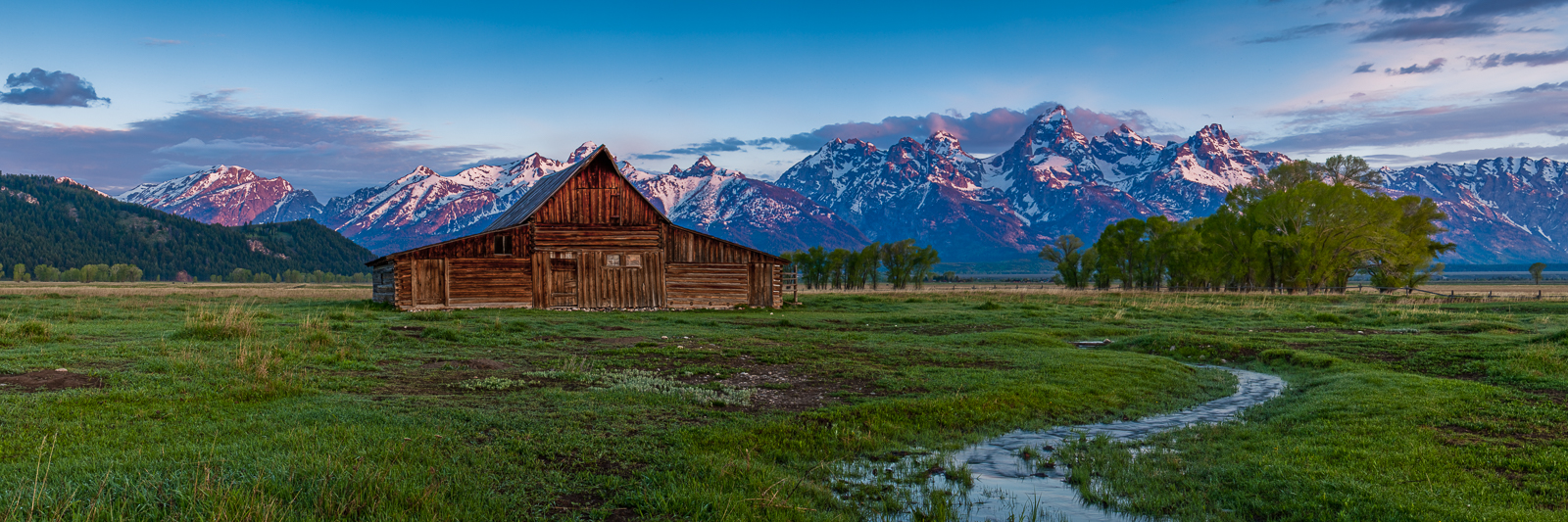 Mormon Row First Light,Grand Teton National Park, Wyoming,light,panoramic,horizontal,water, photo